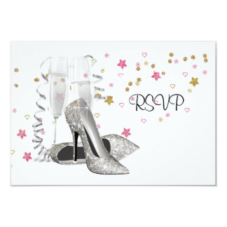 Champagne High Heels 21st Birthday Party RSVP Card