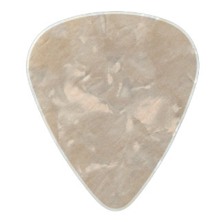Champagne Leather Surface Minimalist Chic Vegan Pearl Celluloid Guitar Pick