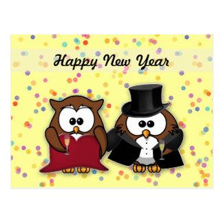 champagne owls postcard