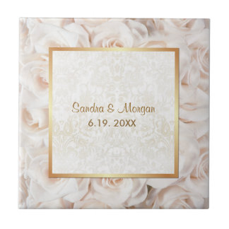 Champagne Pink Rose Elegance Small Square Tile