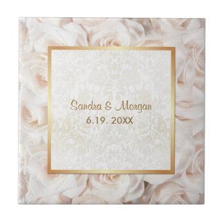 Champagne Pink Rose Elegance Ceramic Tile