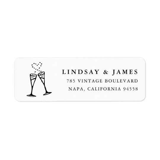 Champagne Pop | Black and White Return Address Return Address Label
