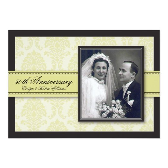 Champagne Ribbon Damask Anniversary Party Invite