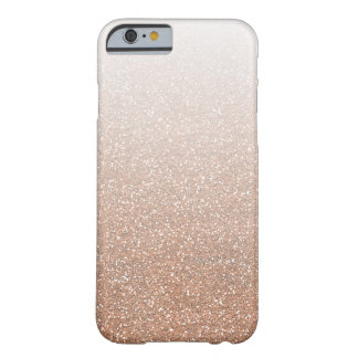 Champagne Rose Gold Faux Glitter Ombre Barely There iPhone 6 Case