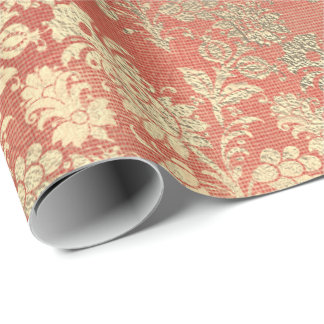 Champagne Rose Gold Floral Powder Coral Linen Wrapping Paper
