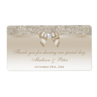 Champagne Sequins Bow Ribbon Diamond Favor Shipping Label