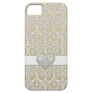 Champagne Silver, Faux Diamond Pave Heart Ribbon iPhone 5 Cover