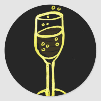 CHAMPAGNE SKETCH by jill in yellow on black Round Sticker