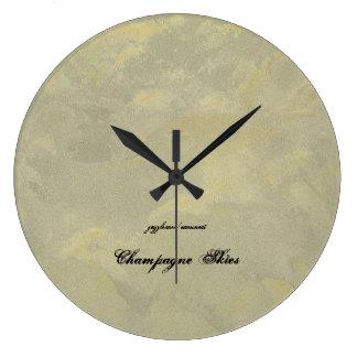 Champagne Skies Large Clock