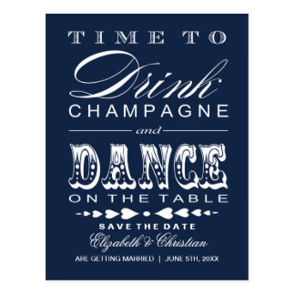 Champagne Theater Bill Save the Date Postcard