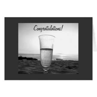 CHAMPAGNE TOAST AT THE BEACH FOR WEDDING GREETING CARD