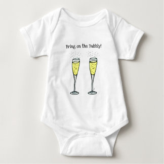 """CHAMPAGNE TOAST """"BRING ON THE BUBBLY"""" BABY BODYSUIT"""
