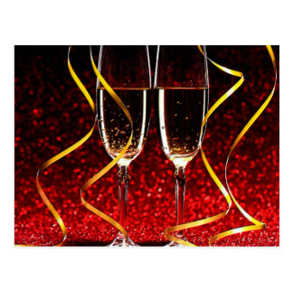Champagne Toast on New Years Day Postcard