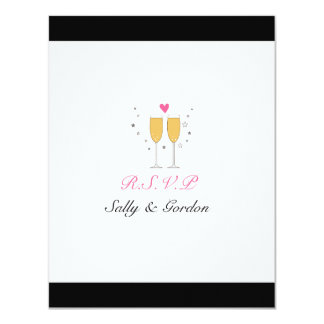 Champagne Toast Wedding RSVP - black 11 Cm X 14 Cm Invitation Card