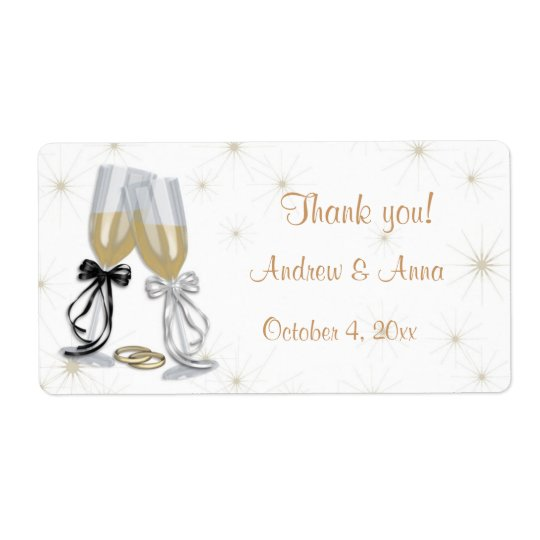 Champagne Wedding Label