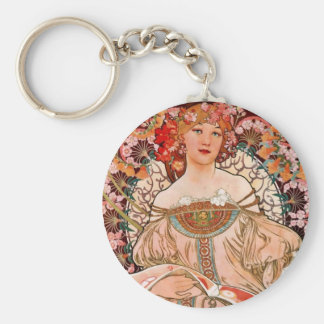 Champagne Woman - F. Champenois Imprimeur Basic Round Button Key Ring
