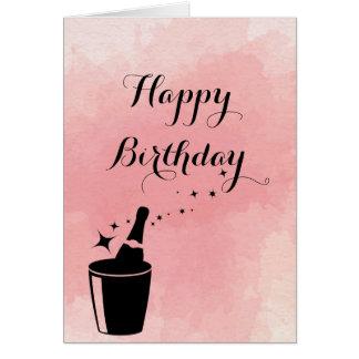 Champange & Rose Birthday Card