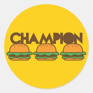 CHAMPION BURGERS yum! Round Sticker