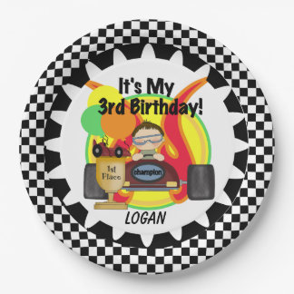 Champion Racing Car 3rd Birthday Paper Plates 9 Inch Paper Plate