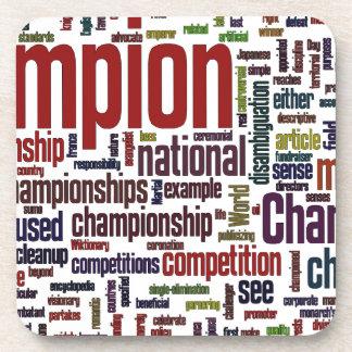 Champion word cloud coasters