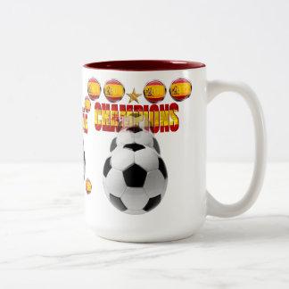 Champions 1964, 2008, 2010 and 2012 Soccer Futbol Two-Tone Coffee Mug