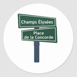 Champs Elysees Place de la Concorde Street Sign Round Sticker