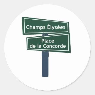 Champs Elysees Place de la Concorde Street Sign Round Sticker