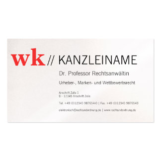 Chancellery visiting card pack of standard business cards