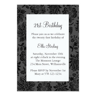 "Chandelier and  Damask Birthday Invitation 5"" X 7"" Invitation Card"
