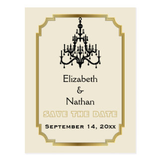 Chandelier & Art Deco border wedding Save the Date Postcard