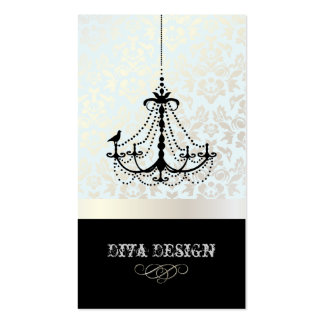 Chandelier + Baroque damask /pearl + blue Business Card Template