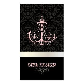 Chandelier + Baroque damask /pearl + pink Pack Of Standard Business Cards