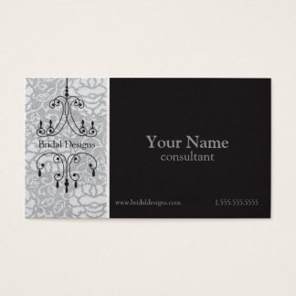 Chandelier Brocade in Silver & Black Bridal Shop Business Card