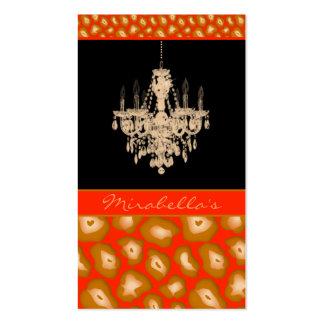 Chandelier Business Card Leopard Animal Orange