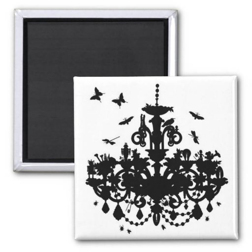 Chandelier & Butterflies Square Magnet