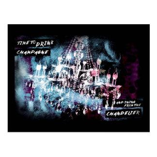 Chandelier Champagne Black Postcard