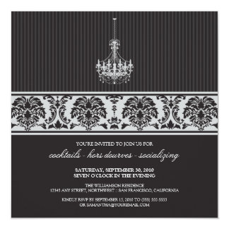 Chandelier Cocktail Party Invite (black/silver)