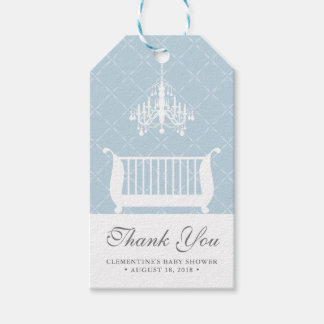 Chandelier Crib Baby Boy Shower Favor Tag