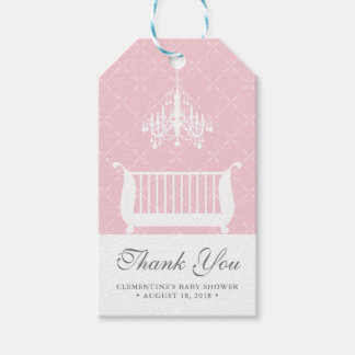 Chandelier Crib Baby Girl Shower Favor Tag