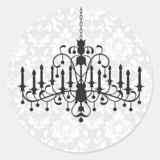 Chandelier Damask Round Stickers