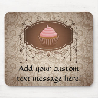 Chandelier Frame Cupcake Pink and Brown Damask Mouse Pad