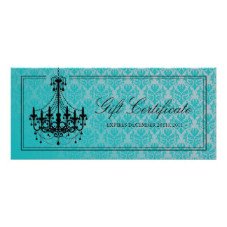 CHANDELIER GIFT CERTIFICATE RACK CARD TEMPLATE