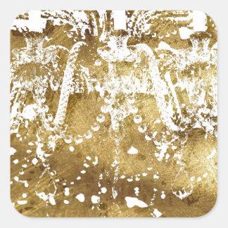 Chandelier Golden Light Square Sticker