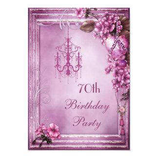 Chandelier, Heart & Flowers 70th Birthday Party 13 Cm X 18 Cm Invitation Card
