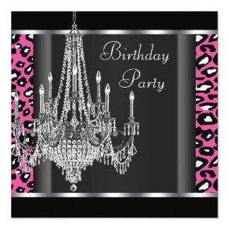 Chandelier Hot Pink Leopard Birthday Party 13 Cm X 13 Cm Square Invitation Card