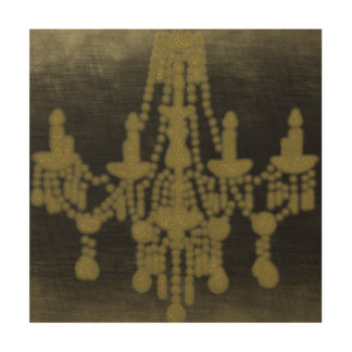 Chandelier in Gold Glitter on Black, Wood Canvases