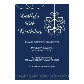 Chandelier Invitation Adult Birthday Party Blue