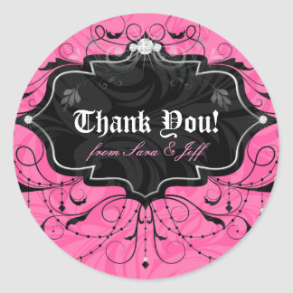 Chandelier Leaves Jewelry Pink Black Round Sticker