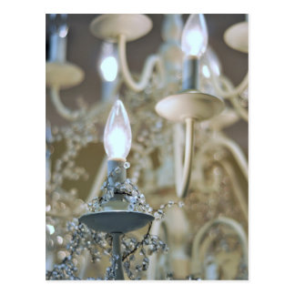 Chandelier, light and glass postcard
