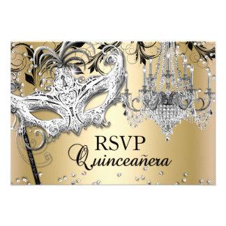 Chandelier Masquerade Gold Quinceanera RSVP Invites